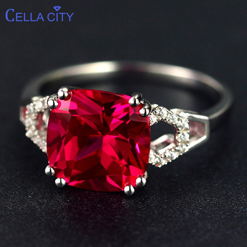 Cellacity classic silver 925 ring with square ruby/emerald gemstone charm women silver Jewlery Engagement Lady Gift size 6-10(China)