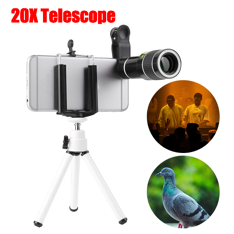 20X Zoom Monocular Telescope Lens with Mobile Phone Clip Tripod For iPhone 6 7 Samsung S8 Android Smartphone Mobile Phone Lens     - title=