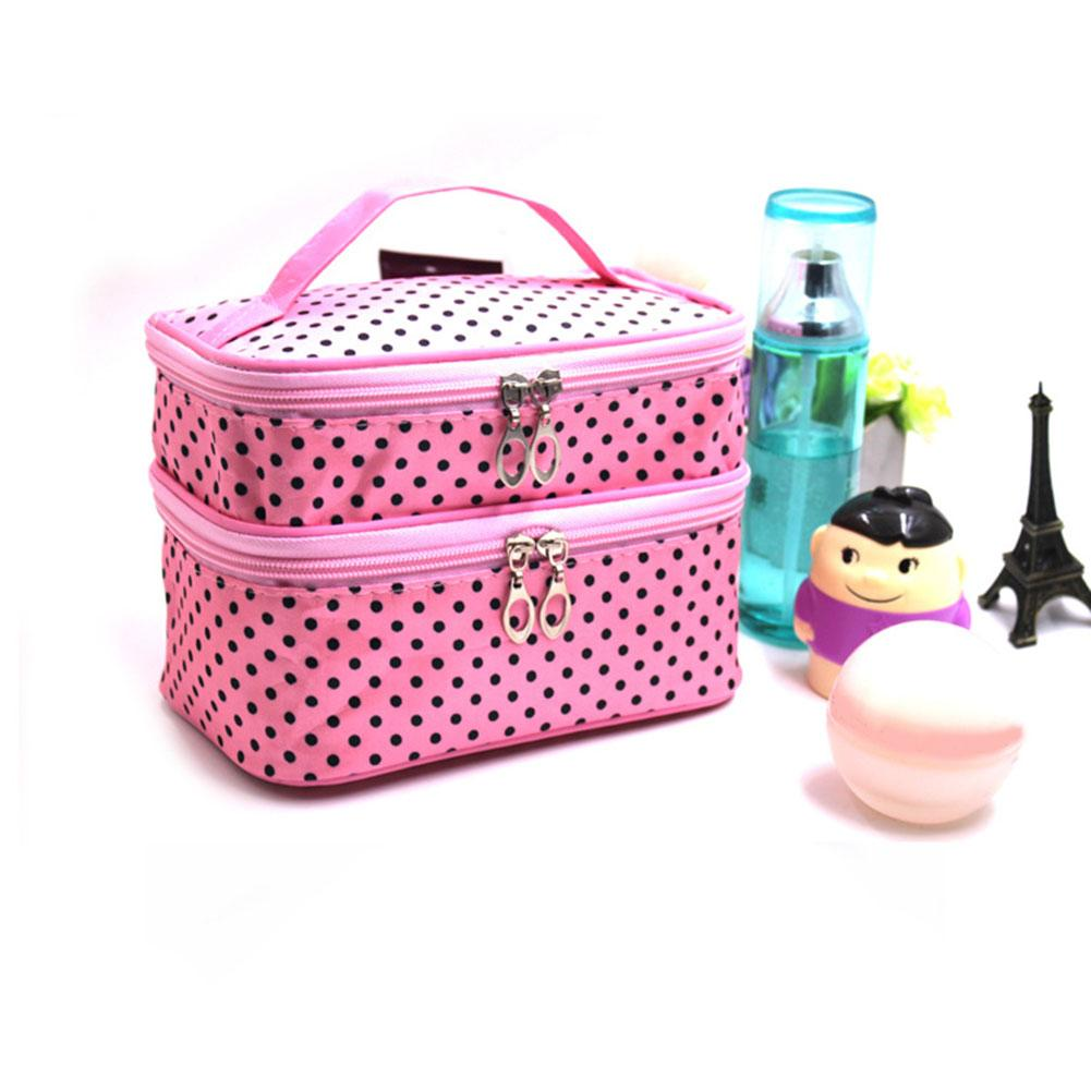 Women Outdoor Travel Double Layers Cosmetic Makeup Storage Bag Pouch Organizer Toiletry Bag Kits Storage Beauty Case