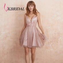 VKbridal צלב חזור קו טול מסיבת סיום שמלות Sparkle קוקטייל שמלות קצר עבור Junior שיבה הביתה שמלות 2019