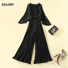 2020 Spring Fashion Jumpsuit High Quality Women Batwing Sleeve Allover Pleated Patterns Wide Leg Casual Party Long Jumpsuits(China)
