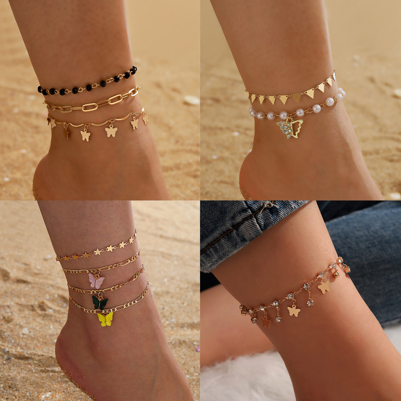 Tocona Boho Butterfly Shiny Rhinestone Tassel Anklets for Women Colorful Bead Gold Alloy Metal Foot Chain Summer Jewelry 14121