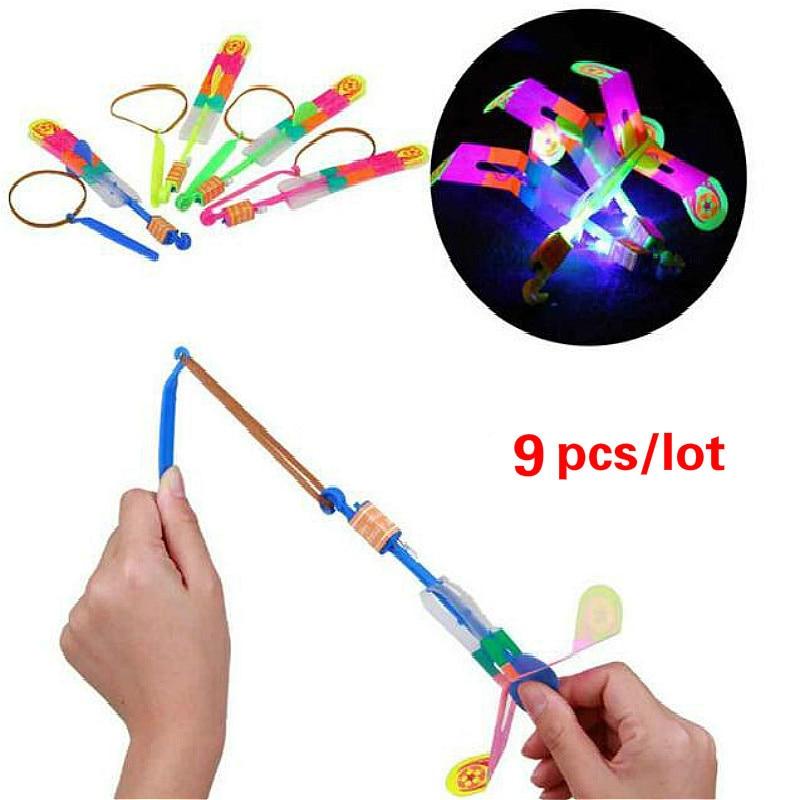 9 Pcs LED Flying Light Toy  Arrow Flash Helicopter Flying Emitting Baby Toys LED Lights Children Toys Gift Xmas Outdoor