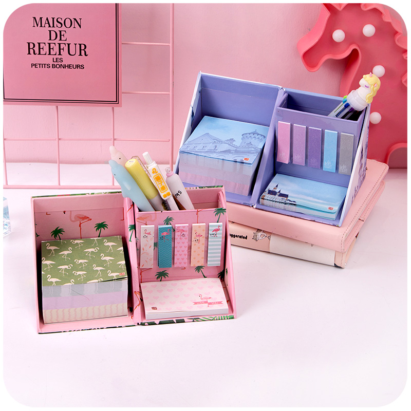 Girl Boxed Sticky Note Creative Cute Cartoon Girl Heart Note Book Note Paper Desktop Decoration Stationery Storage Pen Holder