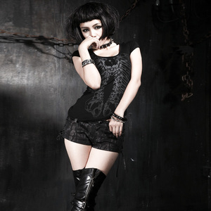 Image 2 - PUNK RAVE Punk kızlar kulübü Hollow out yaz siyah ince kafatası baskı T Shirt gotik popüler görsel Kei seksi pamuk tees en