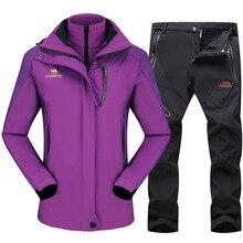 цена на Winter Ski Suit For Women Outdoor Sports Waterproof Windproof Snowboard Fleece Jacket Soft shell Pants Female Skiing clothes set