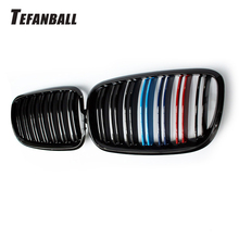 купить For BMW X5 X6 E70 E71 2008-2013 Glossy Black Dual Slat Style Front Kidney Grille Grill Refit Hood Bumper Grills Car Accessories дешево