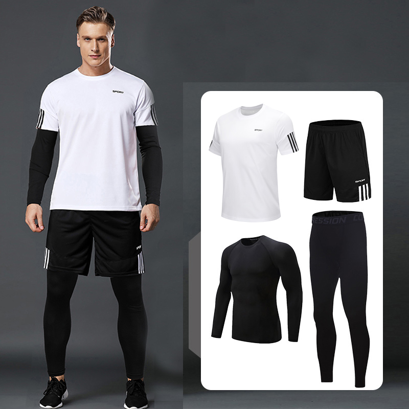 running - 5 Pcs/Set Men's Tracksuit Gym Fitness Compression Sports Suit Clothes Running Jogging Sport Wear Exercise Workout Tights