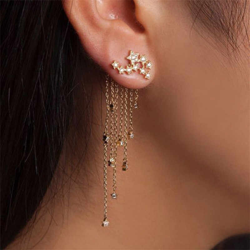 Long Earrings Pendant 1 Pair Women Tassel Gold/ Silver Color Stylish Girl Women Star Streamlined Fashion Crystal