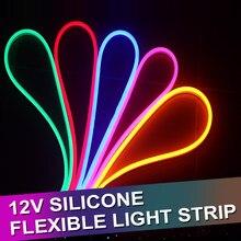 1/2/3/4/5m redondo conduziu a luz de tira flexível dc 12v smd 2835 conduziu a lâmpada impermeável exterior da corda da corda do tubo flexível de néon 12 w/m