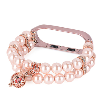 Stylish Replacement Strap Bands for Xiaomi Mi Band 4 3 Bracelet Women Pearl Perfume Wristband with Metal Smart Watch Miband 4 3