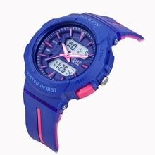TOP OHSEN Digital analog waterproof watch kids lady outdoor sport swimming wrist