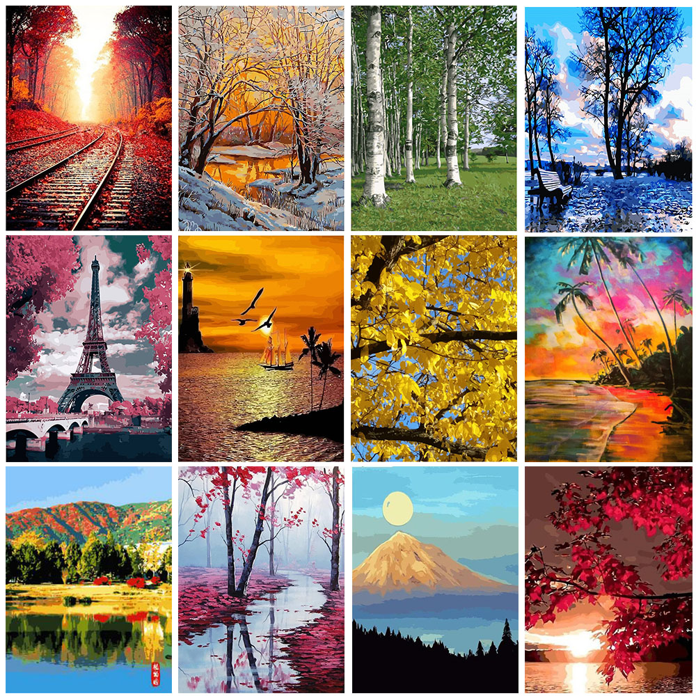 GATYZTORY DIY HandPainted Oil Painting Paint By Numbers For Adults Children Landscape Picture Paint Home Decoration Unique Gift