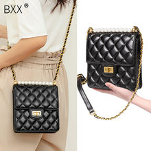 [BXX] kobiety pojedyncze ramię Crossbody torba na wszystkie mecze Mini Flap 2019 lato marka projektant Pearl diament kraty łańcucha PackageHG901(China)