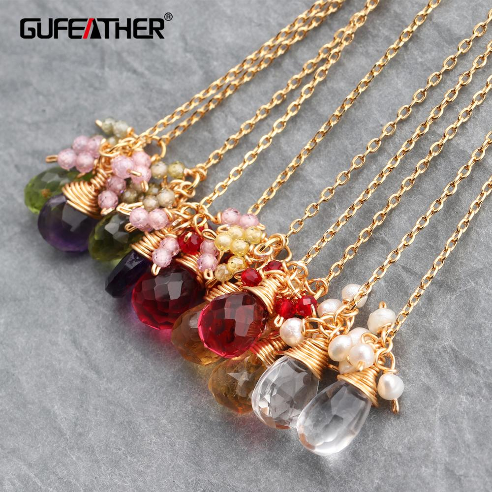 GUFEATHER M626,jewelry Accessories,18k Gold Plated,ear Chain,jewelry Making,hand Made,natural Crystal,diy Earring,2pcs/lot