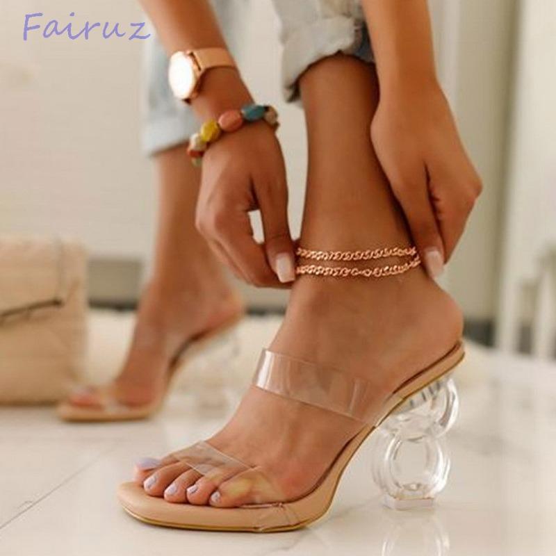 2021 New Fashion Summer Sandals PVC Crystal Open Toed High Heels Women Transparent Heel Sandals Slippers Pumps Big Size 41 42 43