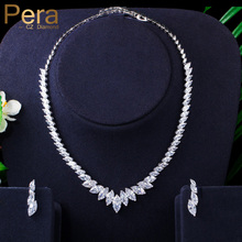 Pera אופנה המרקיזה לחתוך נקי לבן CZ Zirconia חתונה עלה טיפת שרשרת עגילי סט עבור כלות השושבינות תכשיטי J316