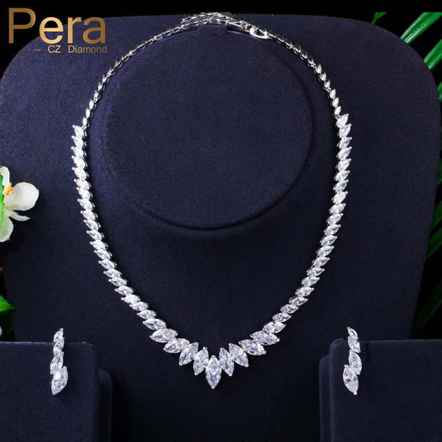Pera Fashion Marquise Cut Clean White CZ Zirconia Wedding Leaf Drop Necklace Earrings Set for Brides Bridesmaids Jewelry J316