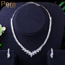 Pera moda Marquesa corte limpio blanco CZ Zirconia boda hoja gota collar pendientes conjunto para novias damas de honor joyería J316