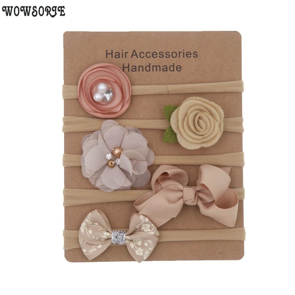Baby Headband Set Solid Knot Flower Fabric Hairbow Kids Nylon Elastic Soft Hair Bands Handmade Girls Hair Accessories 5pcs/lot