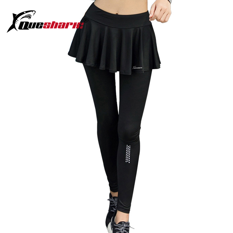 QUESHARK Women Reflective Tennis Long Pants With Skirt Fitness Running Training Slimming Pants Sports Yoga Tights Safety Pants