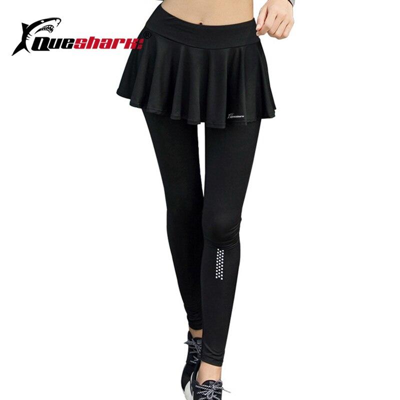 QUESHARK Women Reflective Tennis Skirt Trousers Fitness Running Training Long Pants Sports Yoga Tights Safety Tennis Pants