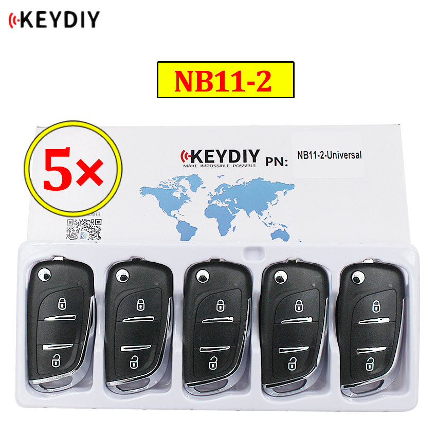 5 pçs/lote 2 Botão Multi-funcional Controle Remoto KEYDIY NB11-2 NB Série Universal para KD900 URG200 KD-X2 todas as funções em um