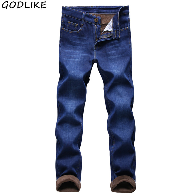 Winter Men's Thermal Warm Flannel Stretch Jeans Mens Winter Quality Famous Brand Fleece Pants Men Straight Flocking Trousers