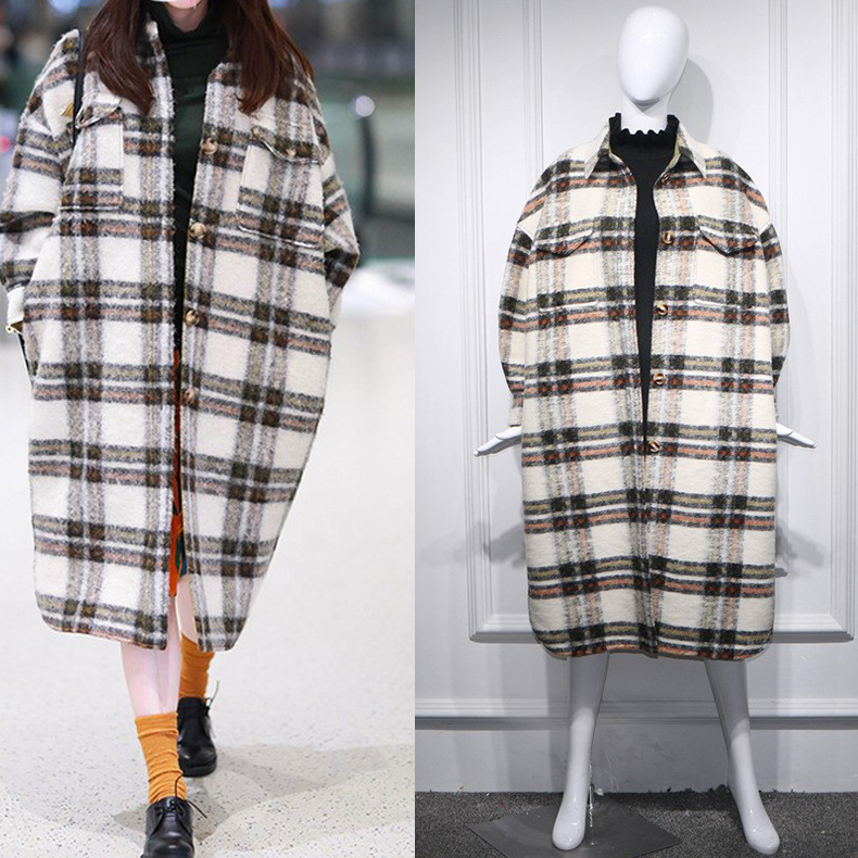 2020 Spring Turn Down Collar Women Woolen Coat Plaid Print Elegant Wool Jacket Women Autumn Oversized Long Coat Casaco Feminino