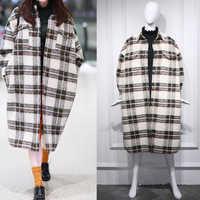 2020 primavera turn down collar feminino casaco de lã xadrez impressão elegante lã jaqueta feminina outono oversized longo casaco feminino