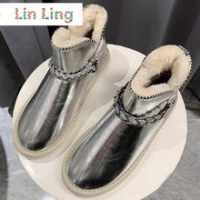 Natural Ankle Boots Shoes Women Short Snow Boots Waterproof Leather Warm Flat Winter Boots Crystal Zapatos De Mujer