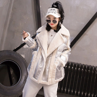 Silver black gold Winter Women Jacket 2019 Fashion Glossy Stand Collar Cotton Coat Outerwear Warm Lambswool Fur one Jackets M136