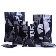 100 pz lucido nero foglio di alluminio Snack vendita al dettaglio imballaggio sacchetto chiusura a cerniera termosaldatura Mylar alimenti noci cerniera sacchetti di imballaggio