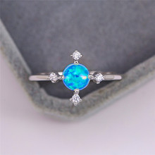 boho female blue opal stone ring dainty round crystal silver wedding rings for women cute bridal love heart engagement ring Minimalist Female Blue Opal Stone Ring Trendy Thin Round Rainbow Wedding Rings For Women Dainty Bridal Silver Engagement Ring