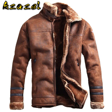 Russian Style Winter Mens Fur Faux Leather Jacket Casual Fashion Streewear Mens Faux Fur Leather Jackets Overcoat Velvet C235
