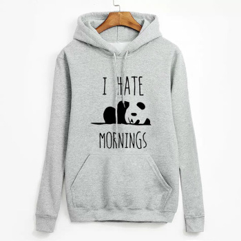 I Hate Mornings Letter Hoodie Women Cute Lazy Panda Pattern Sweatshirt 2019 Autumn Winter Ladies Fleece Thick Hooded Hoodie girls panda pattern jumper
