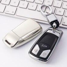 Caso da capa da chave do carro tpu estilo do carro caso da capa chave para audi a4 b9 q5 q7 tt tts 8s 2016 2017 carro keyless remoto