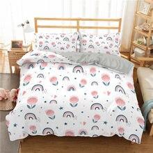 Cartoon 3D Printed Home Textiles Rainbow Bridge Pattern Duvet Cover Pillowcase Girl Bedroom Single Double Queen King Quilt Cover