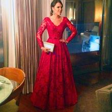 Linia koronkowe suknie wieczorowe V Neck suknie balowe z długim rękawem czerwony elegancki zamek z powrotem sukienki wizytowe suknie wieczorowe tanie tanio OEING V-neck Pełna NONE Długość podłogi Prom dresses REGULAR Koronki Aplikacje Frezowanie Skrzydeł simple Naturalne