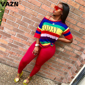 VAZN CX136  New Fashion Sprot Striped Free 2019 Casual Colorful Young Short Sleeve Top Long Pants Slim Elastic Women 2 Piece Set