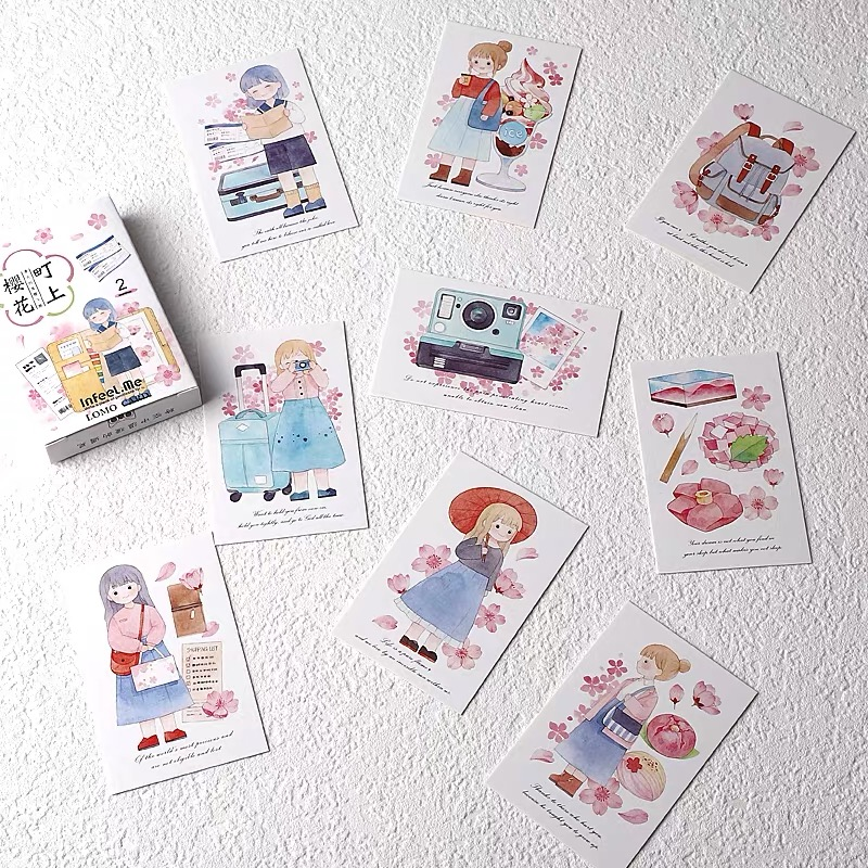 28 Sheets/Set Cherry Blossom And Girl Lomo Card Mini Postcard DIY Cartoon Greeting Card Birthday Gift Card