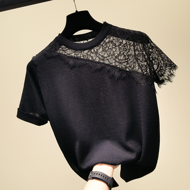 Lace Patchwork Loose Knitted Sweater Women O-neck Short Sleeve Thin Pullover Sexy Hollow Out Striped Top 2020 Summer New Arrival