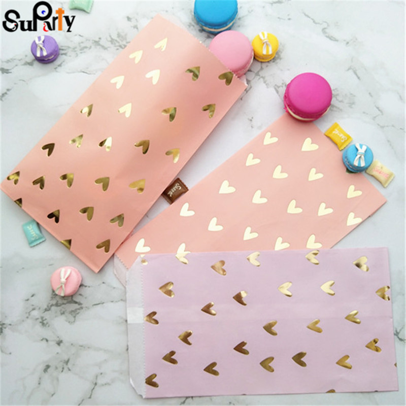 100pcs Blush Pink Paper Treat Bags Gold Foil Heart  Party Gift Candy Bags Violet Color For Birthday Baby Shower Wedding