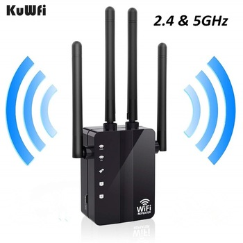 KuWFi 5Ghz 1200Mbps Wireless AP Router Wifi Repeater Dual Band 2.4&5Ghz Extender Long Range WiFi Signal Amplifier
