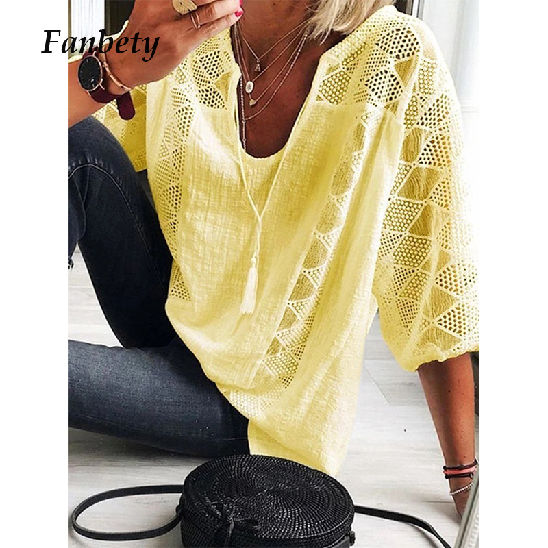 Womens Casual V-neck Tassel Cotton Linen Blouses Women 2020 Spring Three Quarter Sleeve Lace Shirt Summer Loose Chic Tops Female