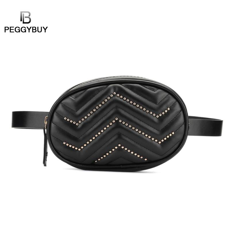 Waist Bags Women Designer Fanny Pack Fashion Belt Bag Decor Women Waist Fanny Belt Packs Pure Color Leather Oval Chest Bags