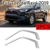 2pcs Car Styling Decals For Toyota RAV4 2019 2020 ABS Chromed Car Front Grill Grille Decorative Cover Trim Strips