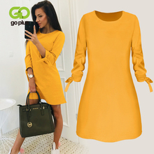 GOPLUS Winter Office Lady Long Sleeve Round Neck Red Mini Dress Womens Dresses Solid A-line Clothes Ropa Mujer C8178