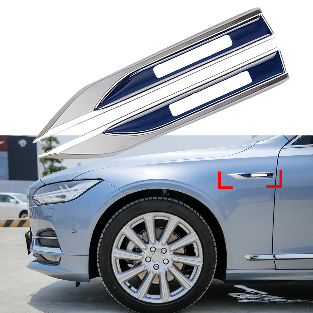 2pcs Car Front Fender Blade Badge Sticker Metal For <font><b>Volvo</b></font> <font><b>V50</b></font> V60 V70 V90 XC80 S40 XC90 C70 S80 S90 Logo Nameplate Car <font><b>Styling</b></font> image