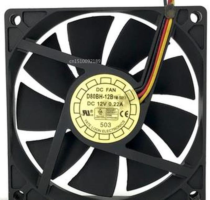 For OriginalFan D80BH-12B DC 12V 0.22A YaLn 8015 80*80*15mm Cooling Fan Free Shipping